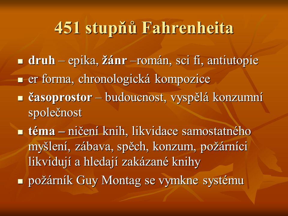 451 stupňů Fahrenheita druh – epika, žánr –román, sci fi, antiutopie