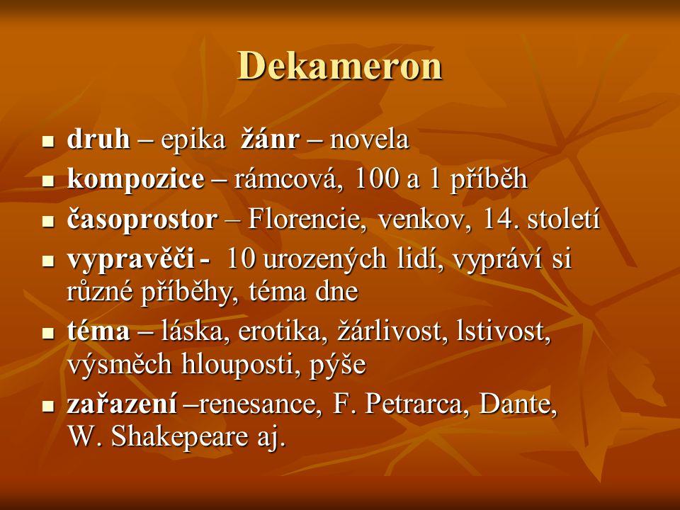 Dekameron druh – epika žánr – novela