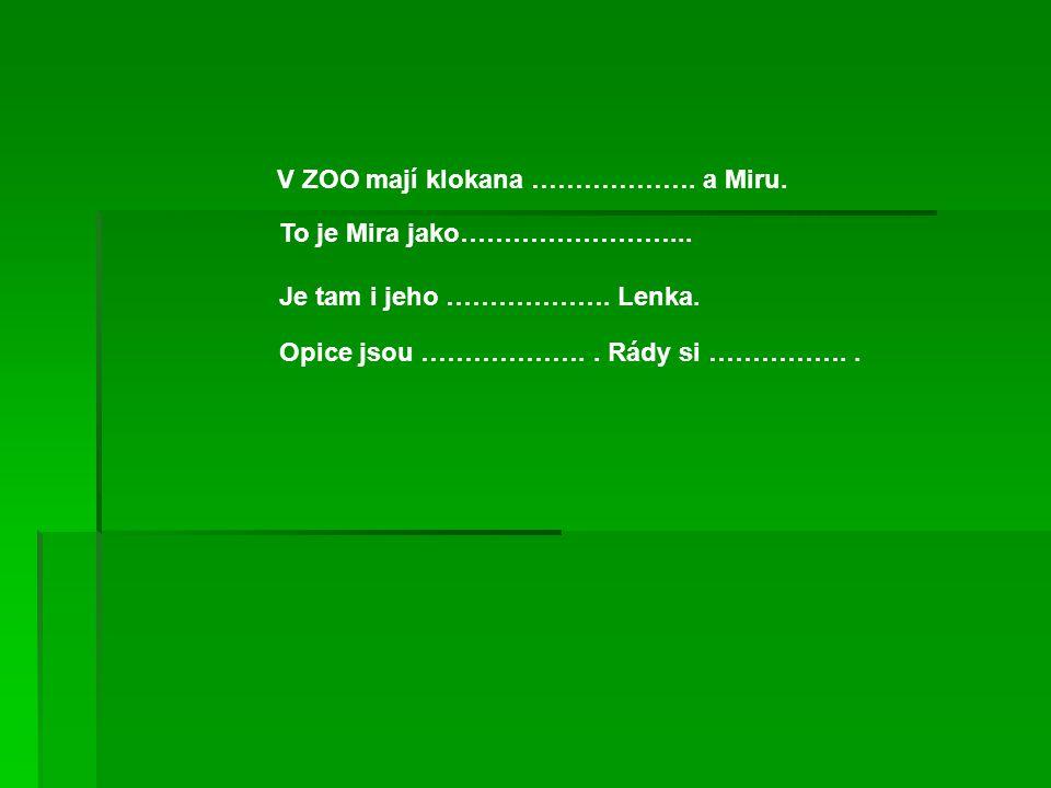 V ZOO mají klokana ………………. a Miru.