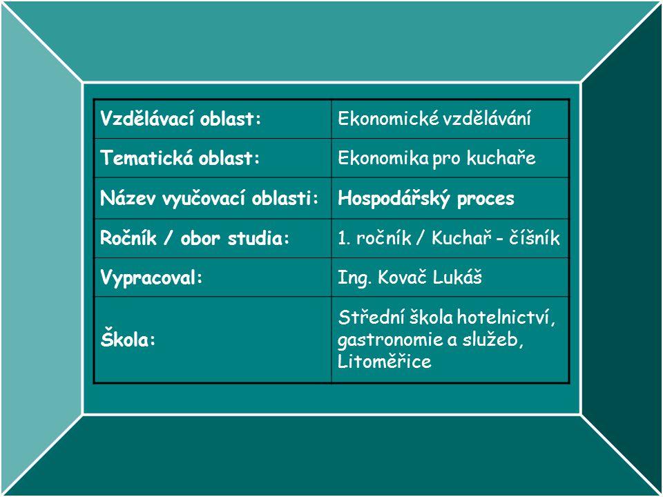 Vzdělávací oblast: Ekonomické vzdělávání. Tematická oblast: Ekonomika pro kuchaře. Název vyučovací oblasti: