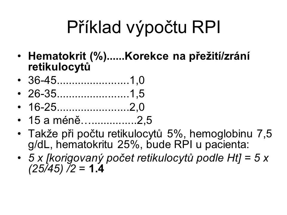 Příklad výpočtu RPI Hematokrit (%)......Korekce na přežití/zrání retikulocytů. 36-45........................1,0.