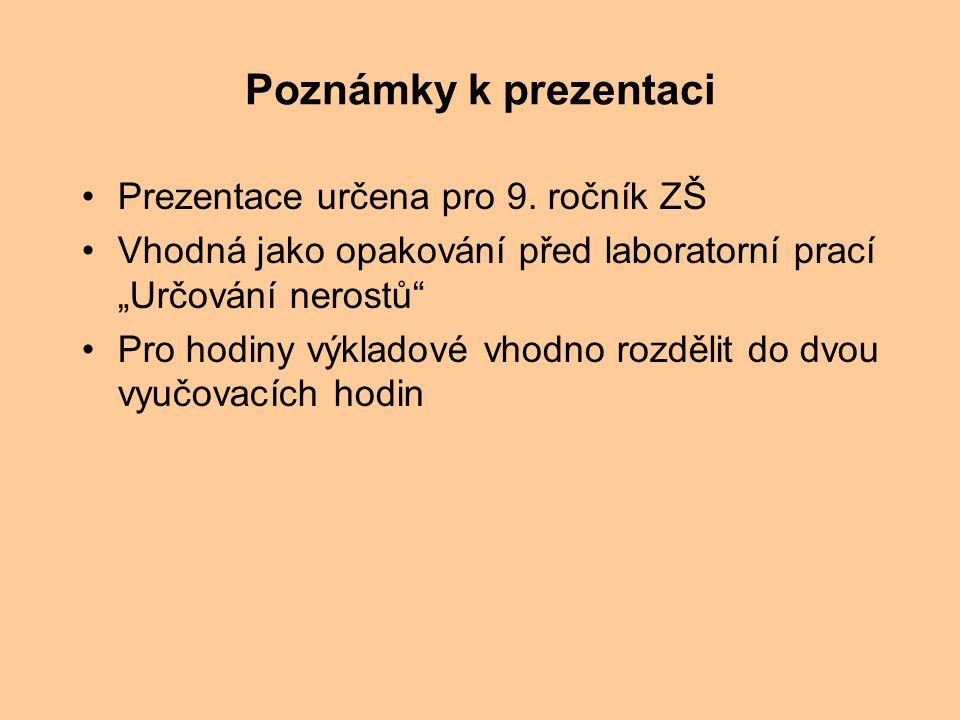Poznámky k prezentaci Prezentace určena pro 9. ročník ZŠ