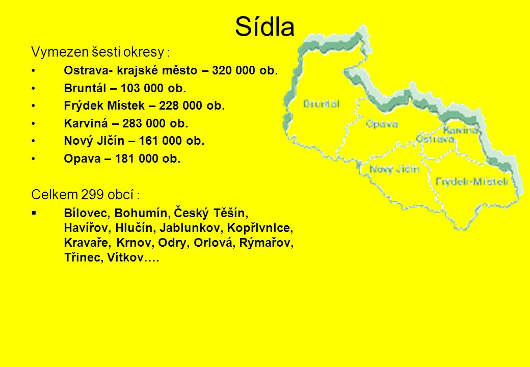 Sídla Vymezen šesti okresy : Celkem 299 obcí :