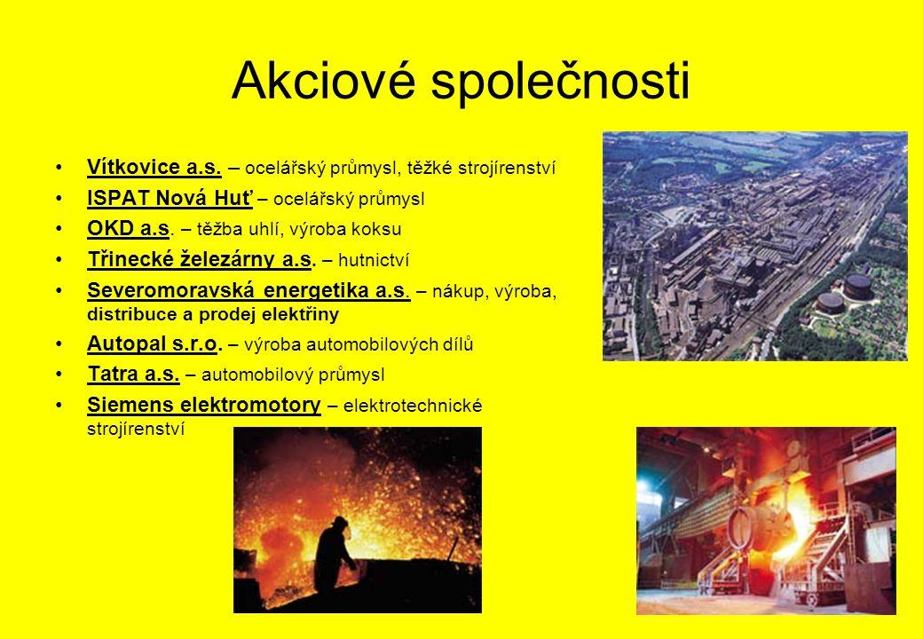 Akciové společnosti Vítkovice a.s. – ocelářský průmysl, těžké strojírenství. ISPAT Nová Huť – ocelářský průmysl.