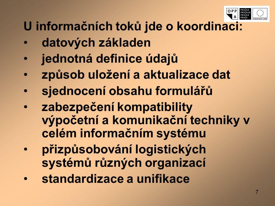 U informačních toků jde o koordinaci: