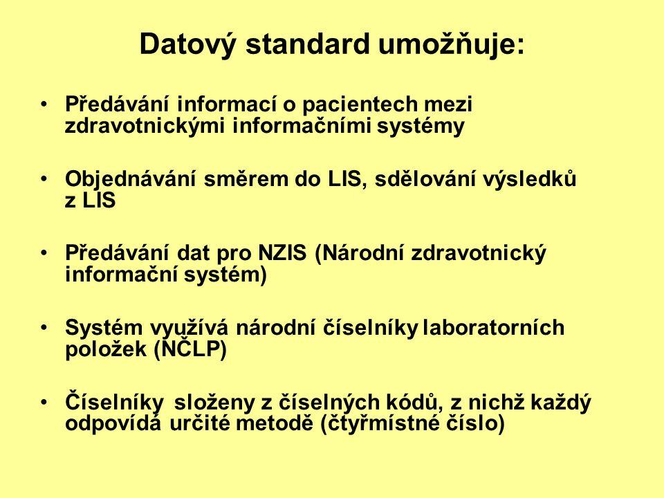 Datový standard umožňuje: