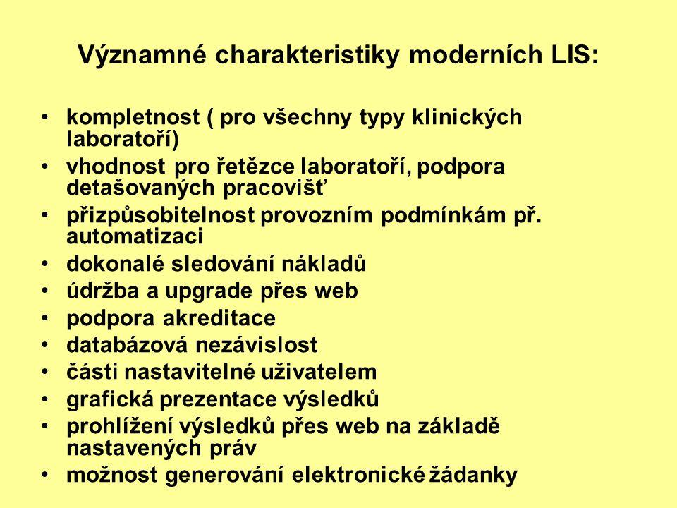 Významné charakteristiky moderních LIS: