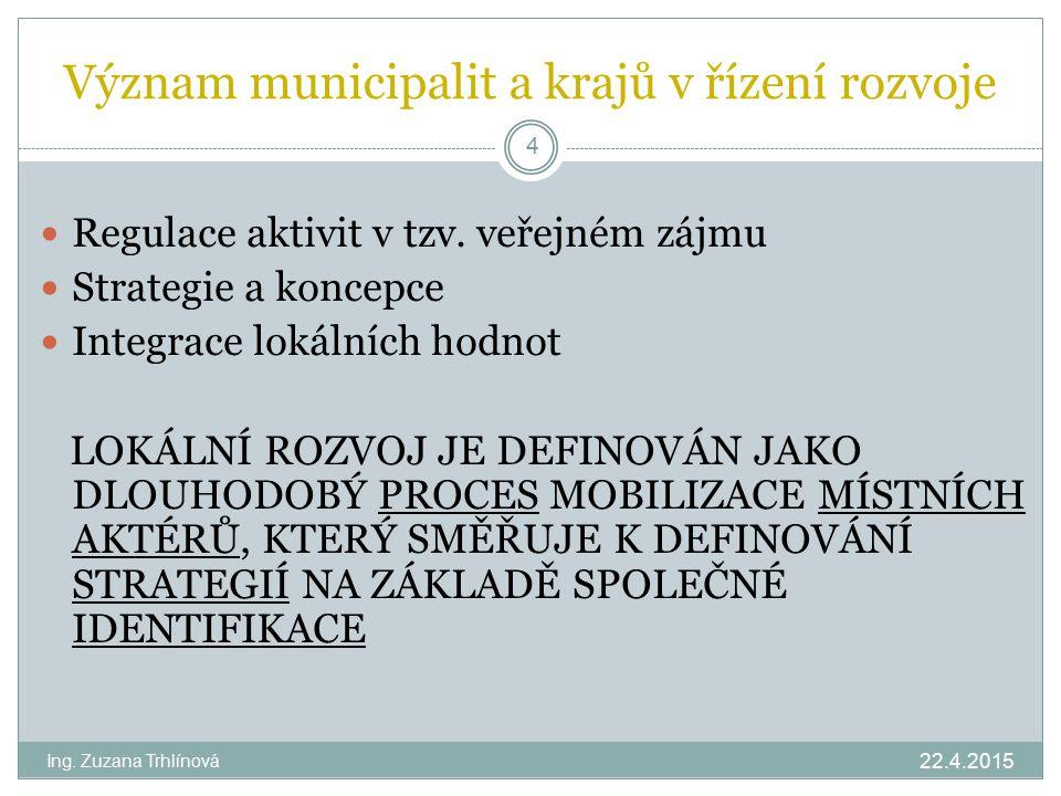 Význam municipalit a krajů v řízení rozvoje