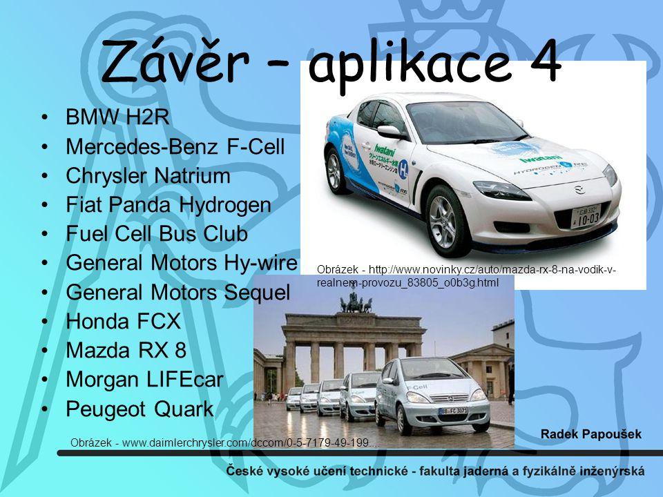 Závěr – aplikace 4 BMW H2R Mercedes-Benz F-Cell Chrysler Natrium