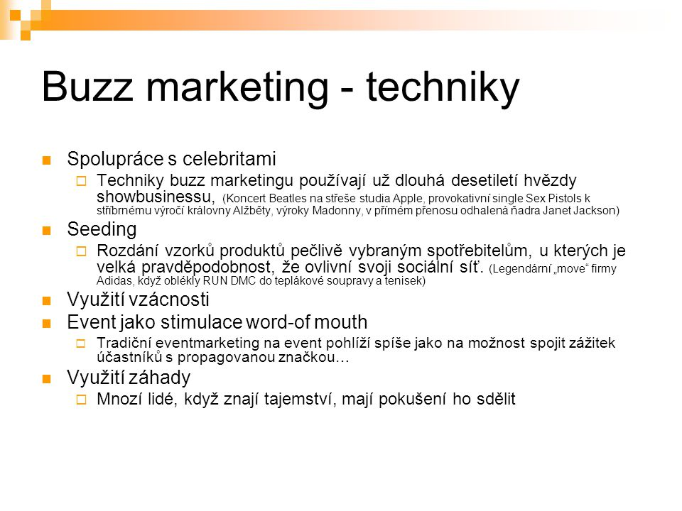 Buzz marketing - techniky