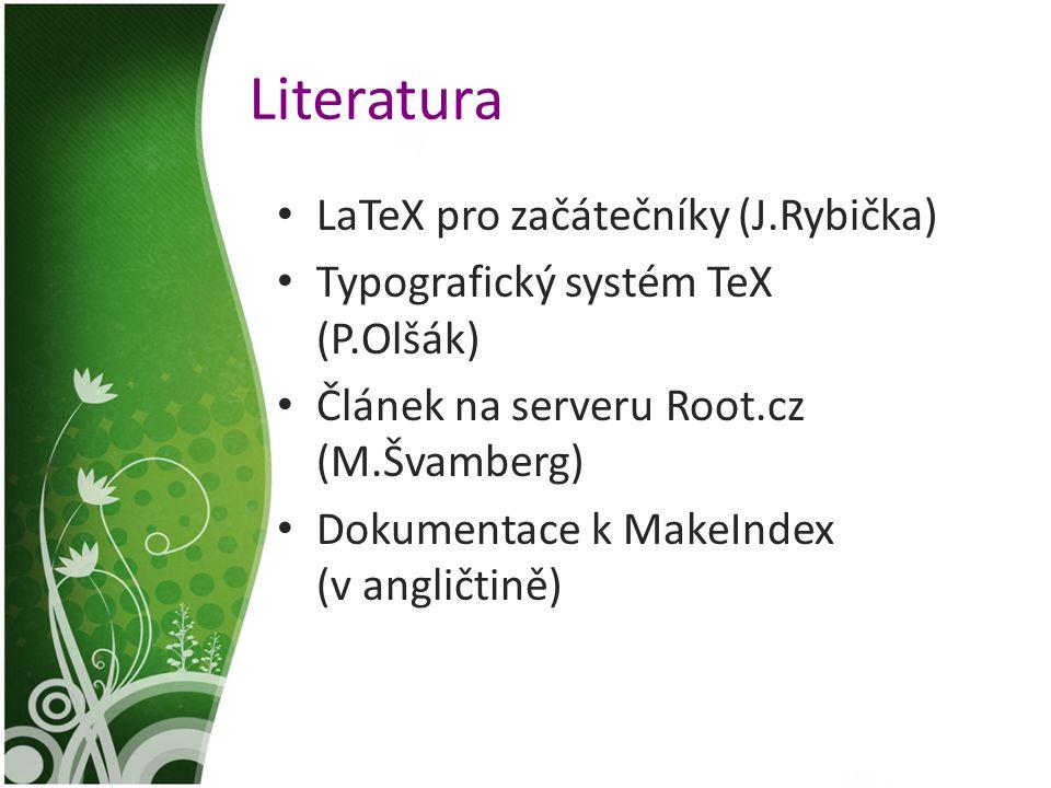 Literatura LaTeX pro začátečníky (J.Rybička)