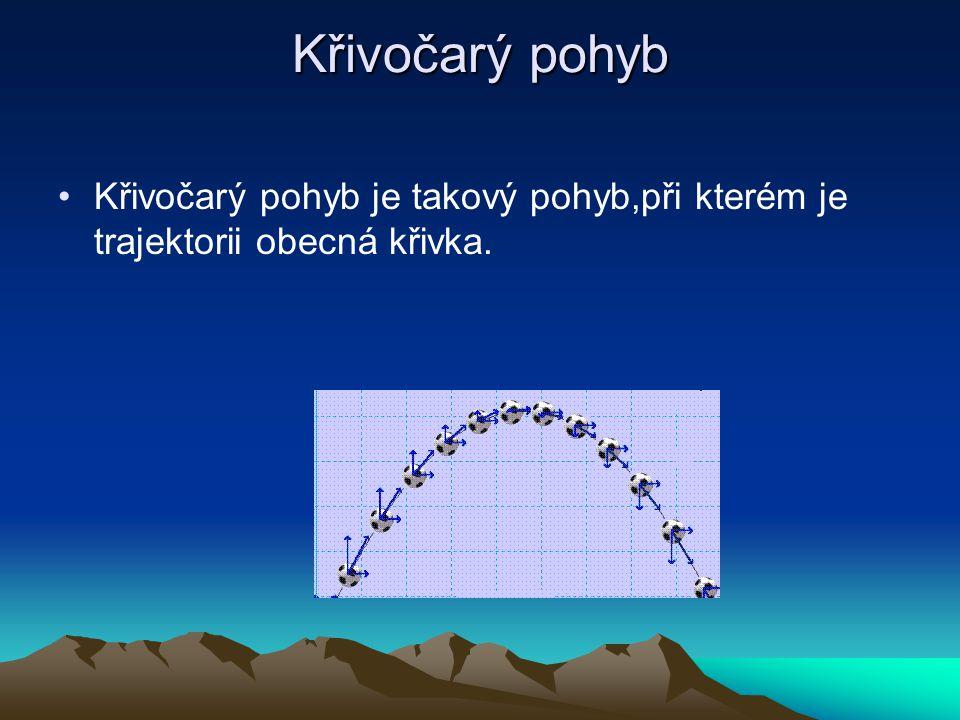 Křivočarý pohyb Křivočarý pohyb je takový pohyb,při kterém je trajektorii obecná křivka.