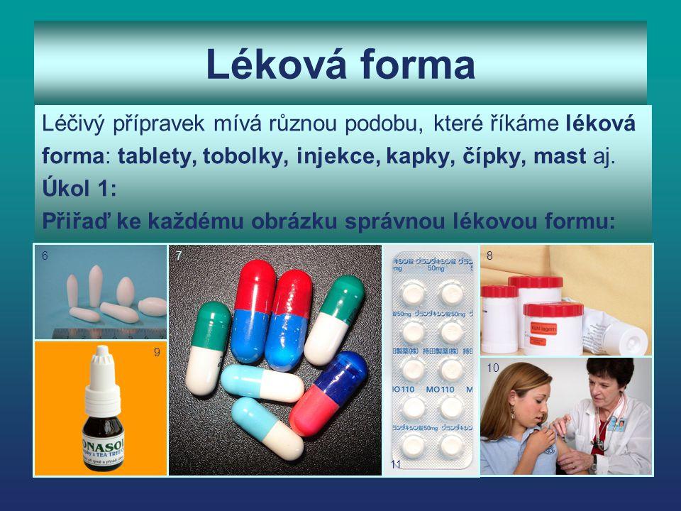 Léková forma Léčivý přípravek mívá různou podobu, které říkáme léková