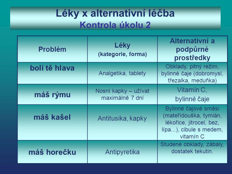 Léky x alternativní léčba Kontrola úkolu 2