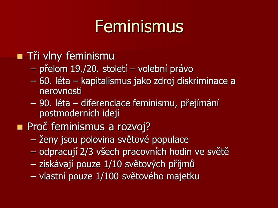 Feminismus Tři vlny feminismu Proč feminismus a rozvoj