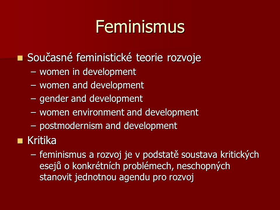 Feminismus Současné feministické teorie rozvoje Kritika