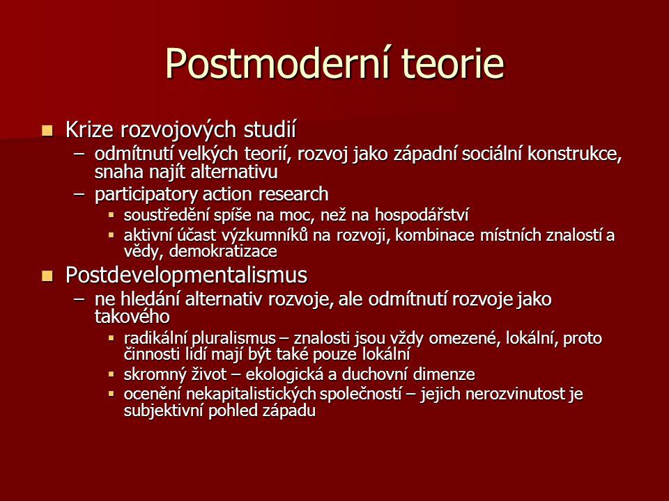 Postmoderní teorie Krize rozvojových studií Postdevelopmentalismus