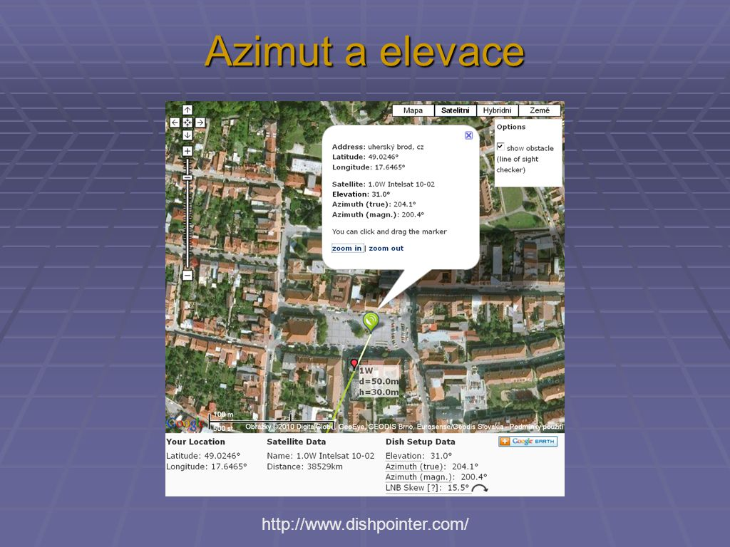 Azimut a elevace http://www.dishpointer.com/