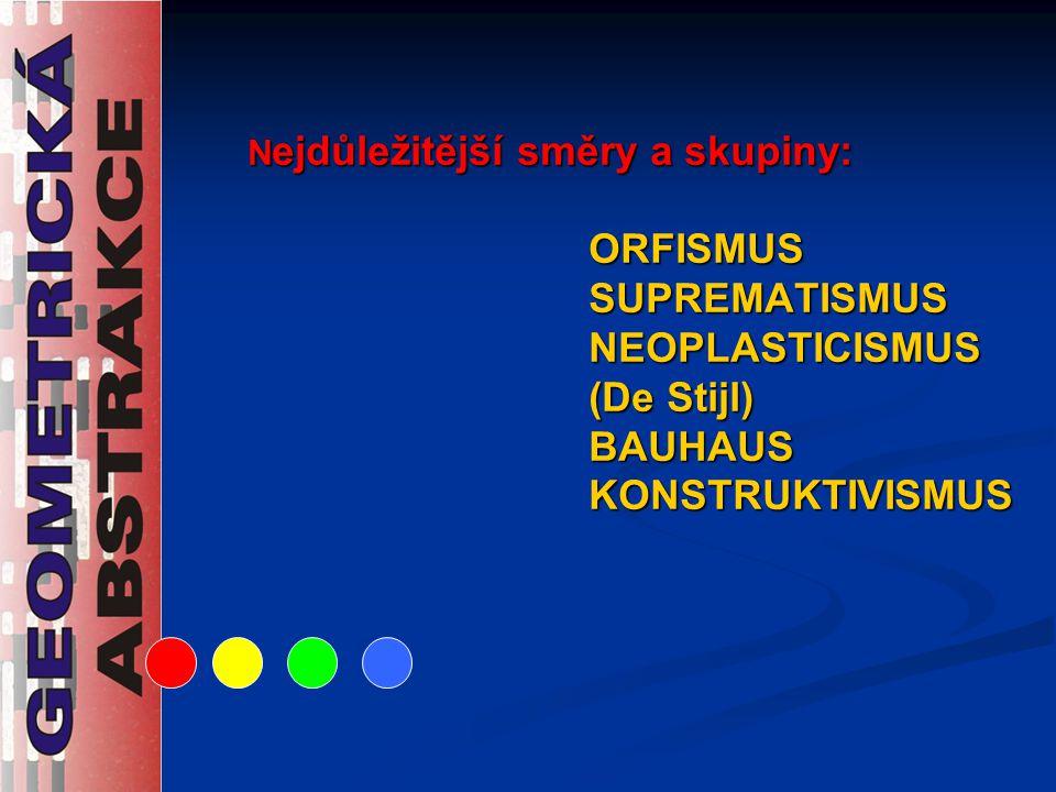 Nejdůležitější směry a skupiny: ORFISMUS SUPREMATISMUS NEOPLASTICISMUS (De Stijl) BAUHAUS KONSTRUKTIVISMUS