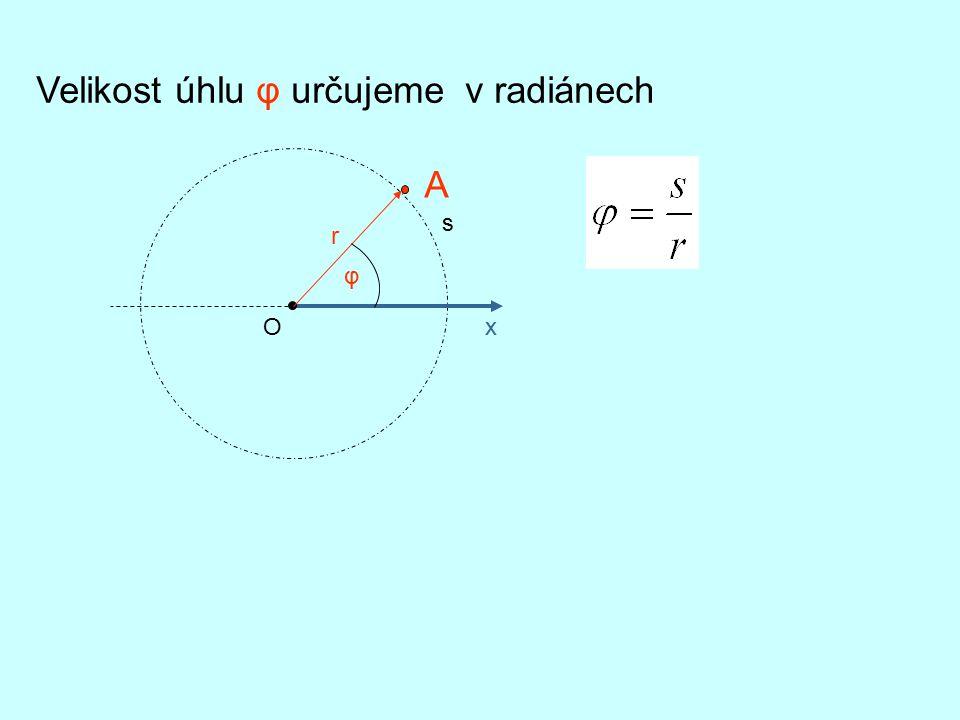Velikost úhlu φ určujeme v radiánech