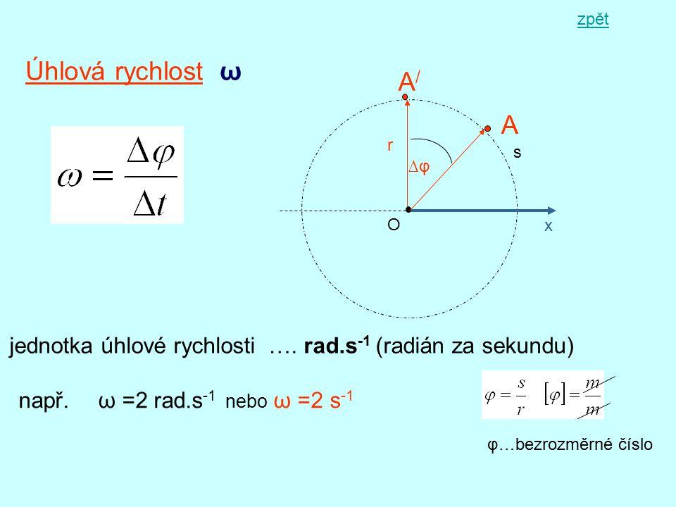 zpět Úhlová rychlost ω. A/ A. r. s. ∆φ. O. x. jednotka úhlové rychlosti …. rad.s-1 (radián za sekundu)