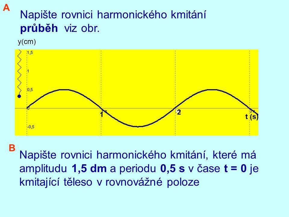 Napište rovnici harmonického kmitání průběh viz obr.