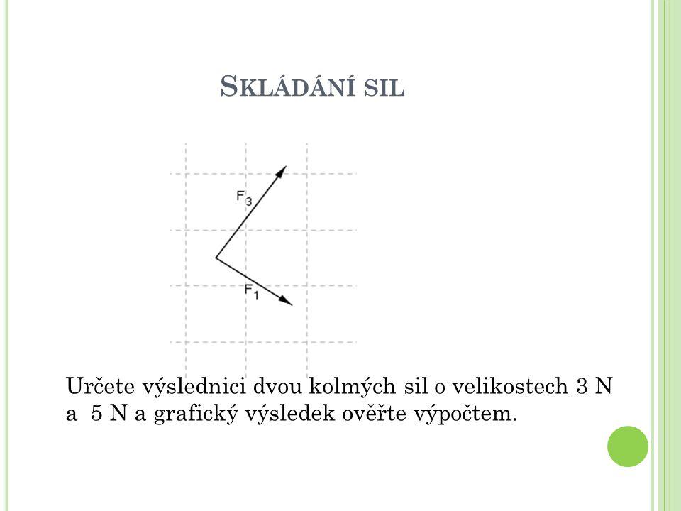 Skládání sil Určete výslednici dvou kolmých sil o velikostech 3 N a 5 N a grafický výsledek ověřte výpočtem.