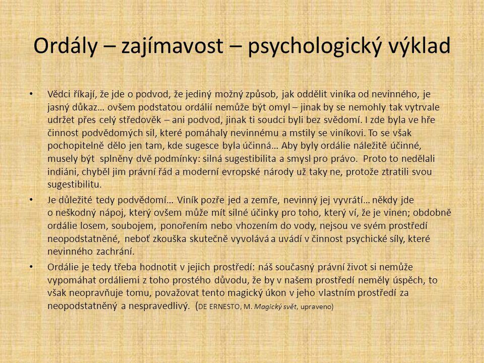 Ordály – zajímavost – psychologický výklad