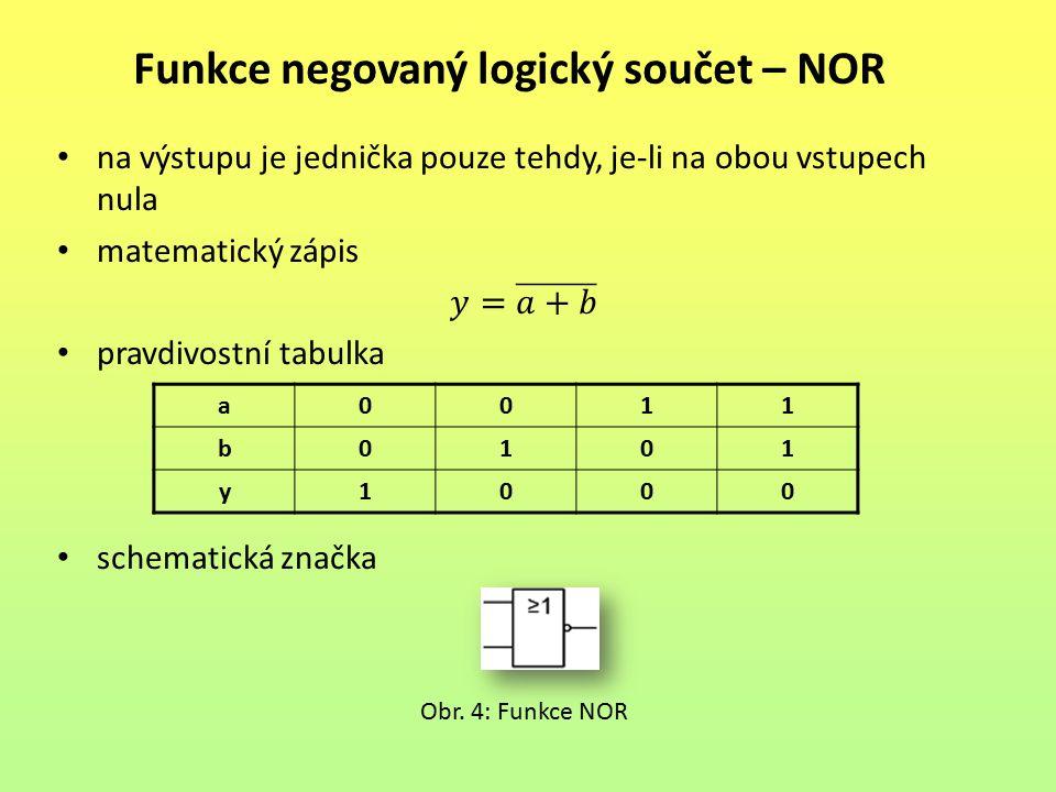 Funkce negovaný logický součet – NOR