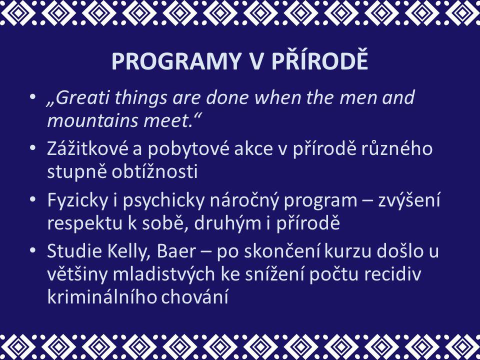 """PROGRAMY V PŘÍRODĚ """"Greati things are done when the men and mountains meet. Zážitkové a pobytové akce v přírodě různého stupně obtížnosti."""