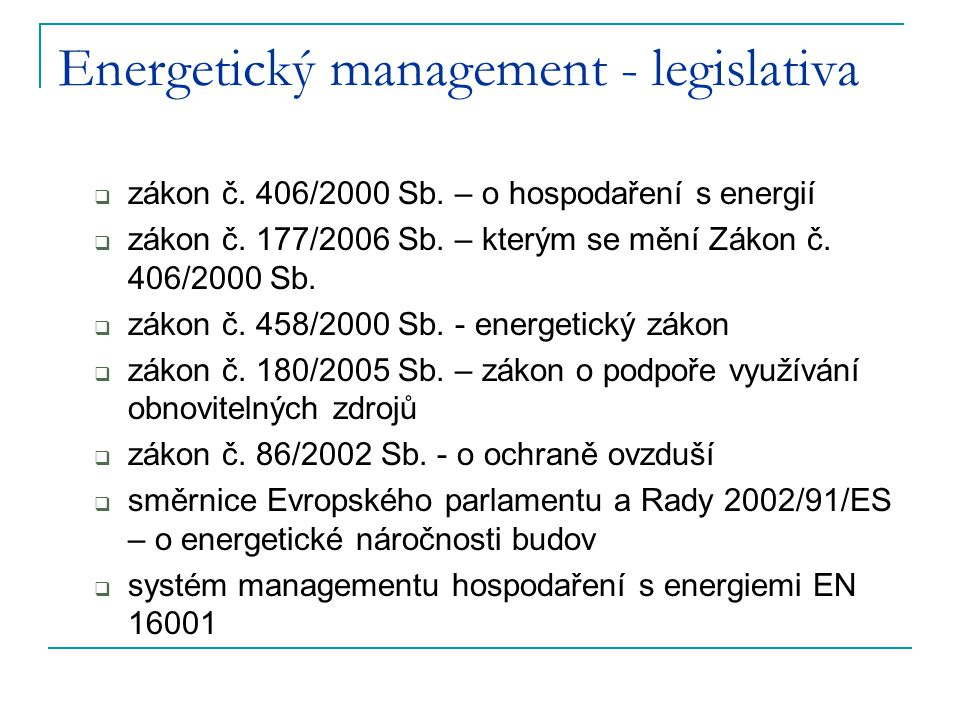 Energetický management - legislativa