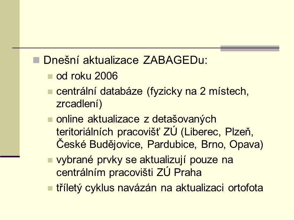Dnešní aktualizace ZABAGEDu: