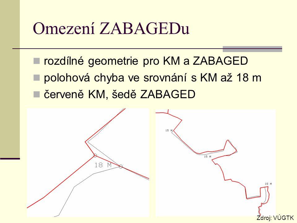 Omezení ZABAGEDu rozdílné geometrie pro KM a ZABAGED