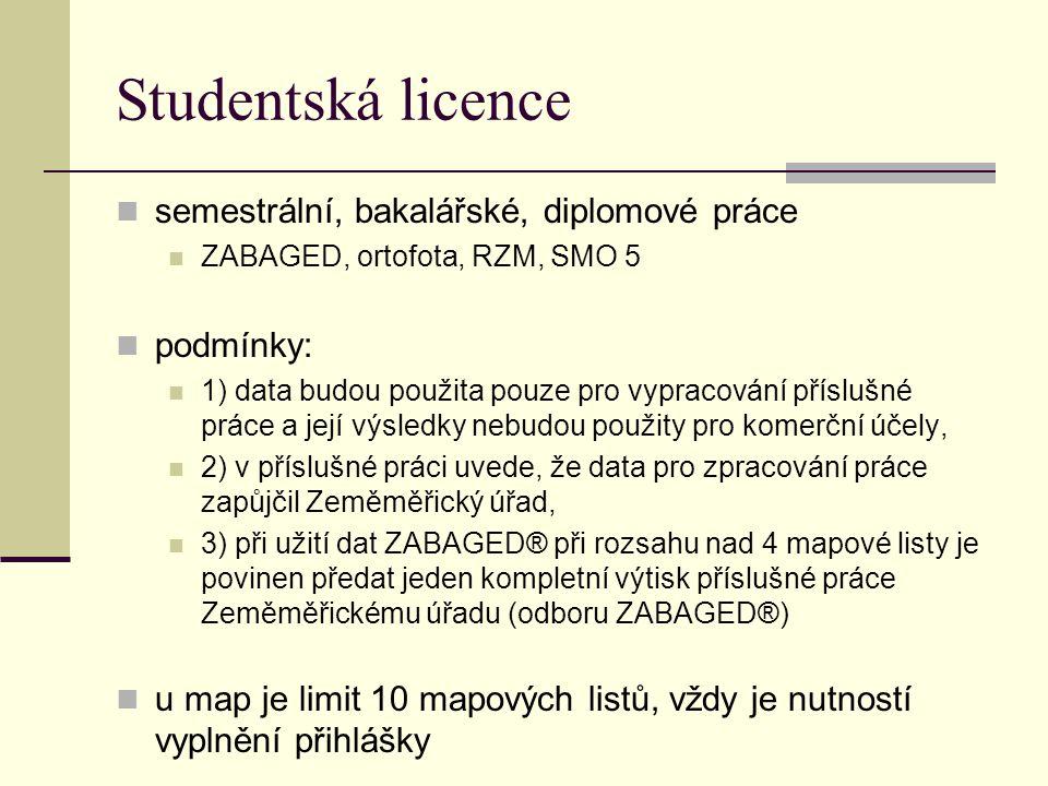 Studentská licence semestrální, bakalářské, diplomové práce podmínky:
