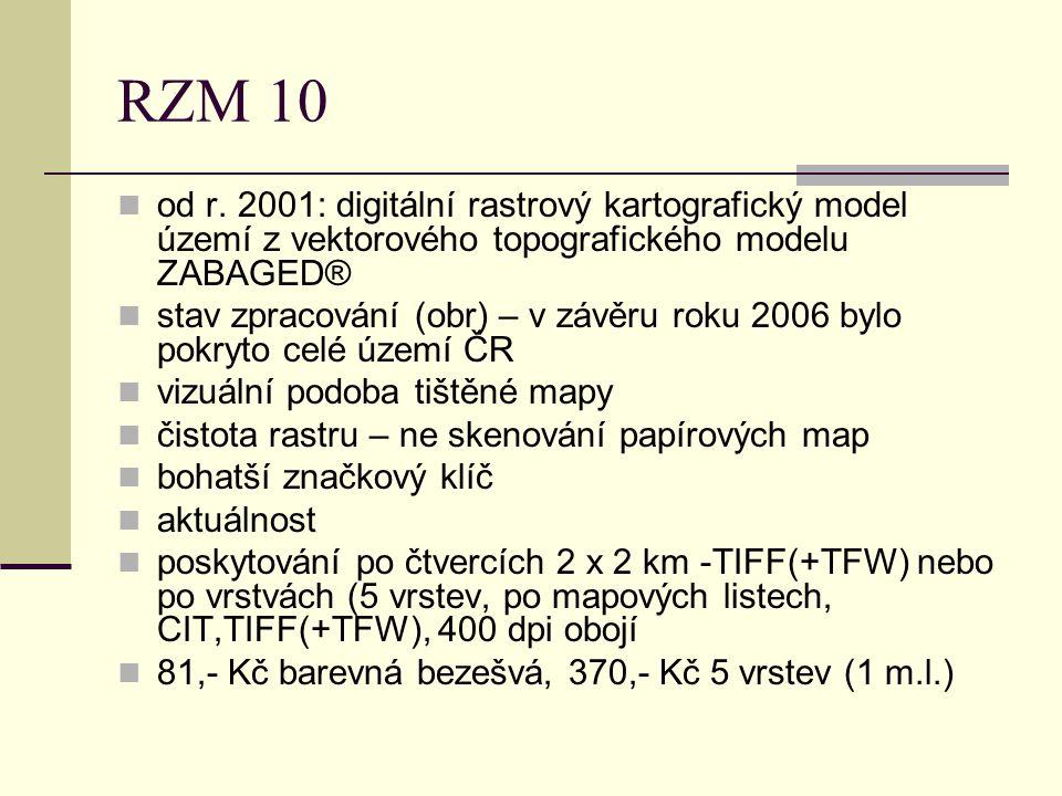 RZM 10 od r. 2001: digitální rastrový kartografický model území z vektorového topografického modelu ZABAGED®