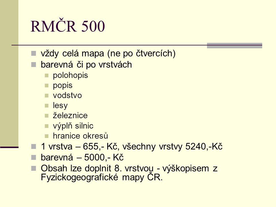 RMČR 500 vždy celá mapa (ne po čtvercích) barevná či po vrstvách