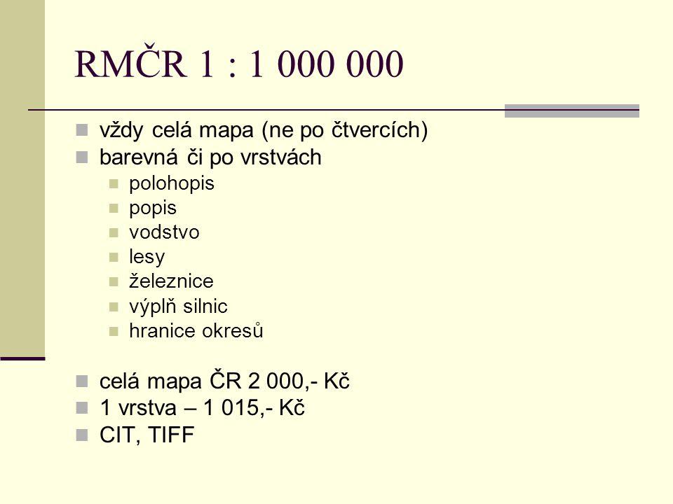 RMČR 1 : 1 000 000 vždy celá mapa (ne po čtvercích)