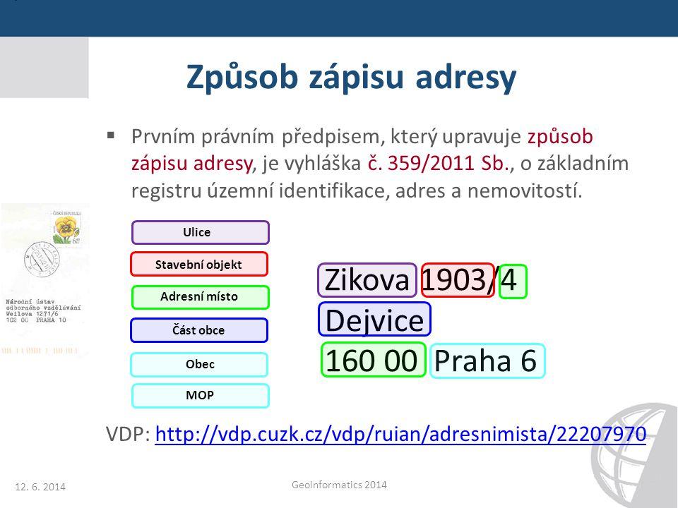 Způsob zápisu adresy Zikova 1903/4 Dejvice 160 00 Praha 6