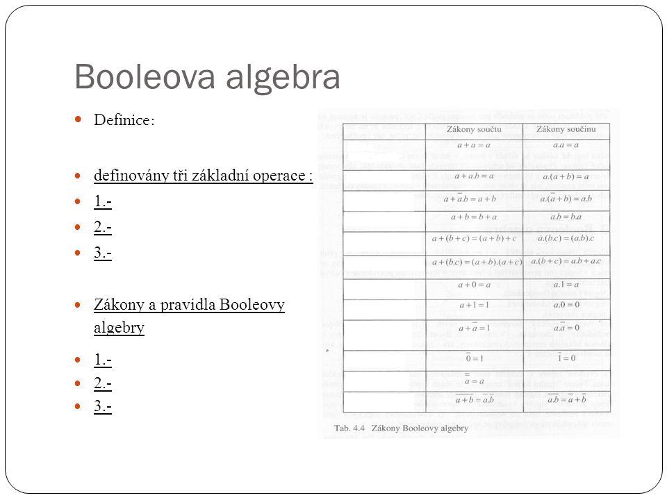 Booleova algebra Definice: definovány tři základní operace : 1.- 2.-