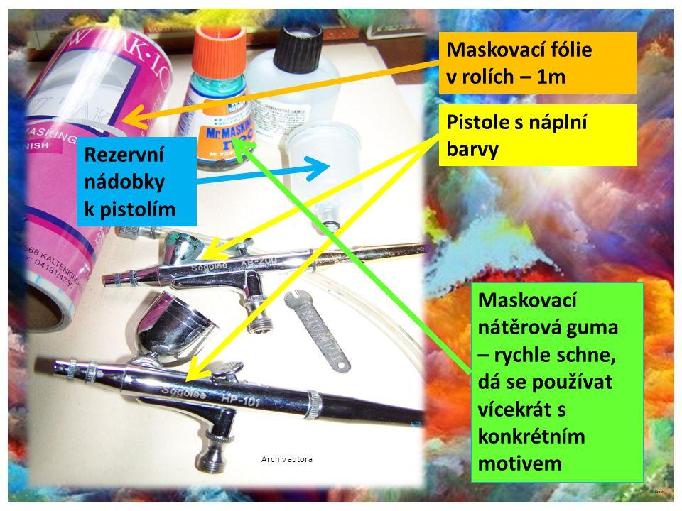 Maskovací fólie v rolích – 1m Pistole s náplní barvy Rezervní nádobky