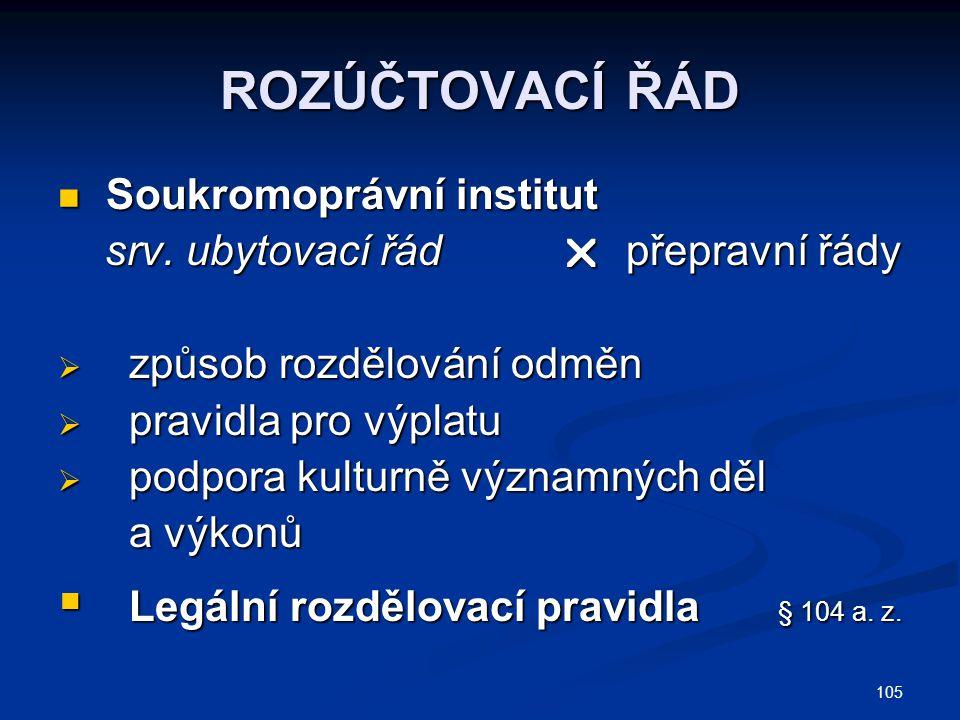 ROZÚČTOVACÍ ŘÁD Soukromoprávní institut