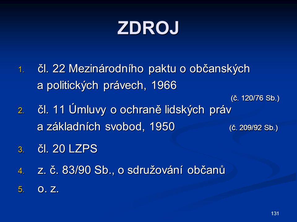 ZDROJ čl. 22 Mezinárodního paktu o občanských