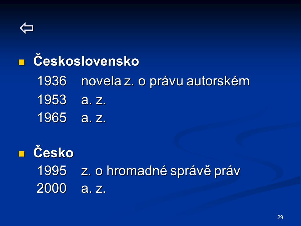  Československo 1936 novela z. o právu autorském 1953 a. z.