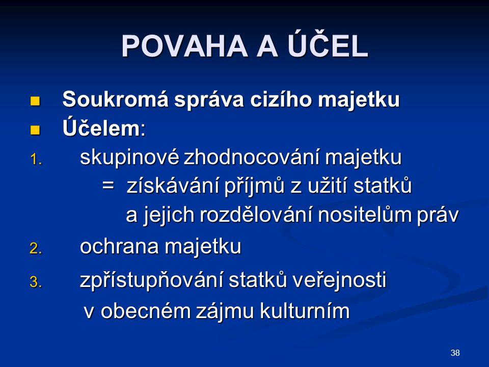 POVAHA A ÚČEL Soukromá správa cizího majetku Účelem: