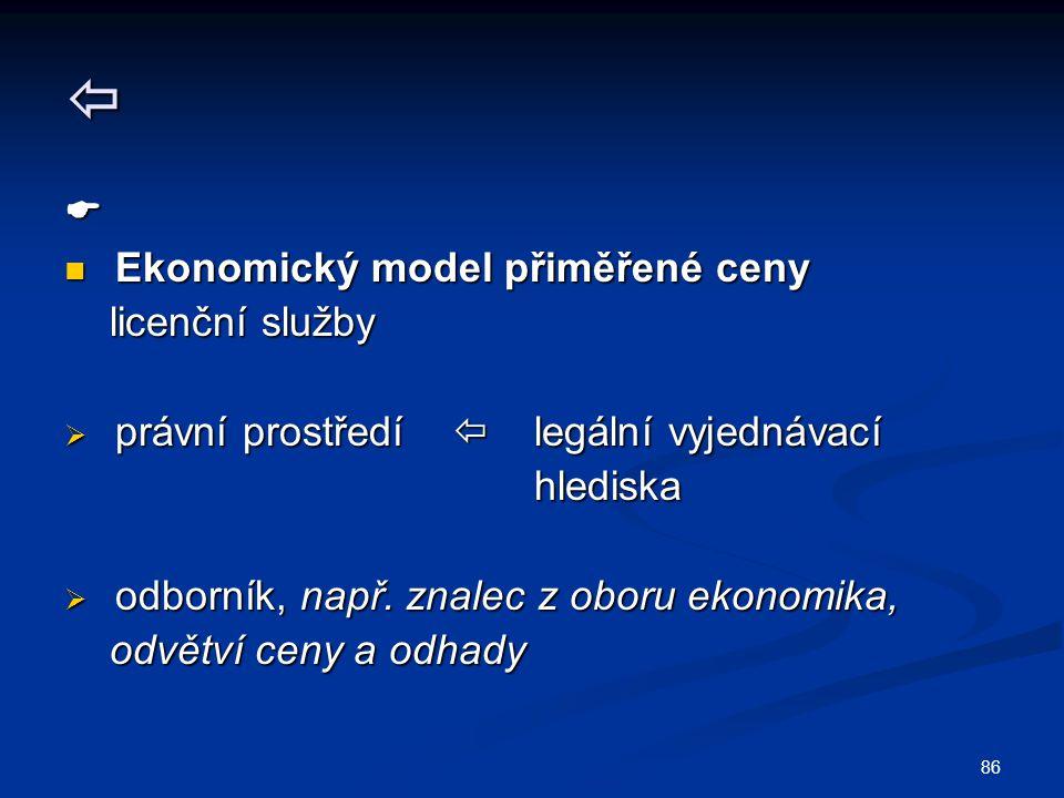   Ekonomický model přiměřené ceny licenční služby