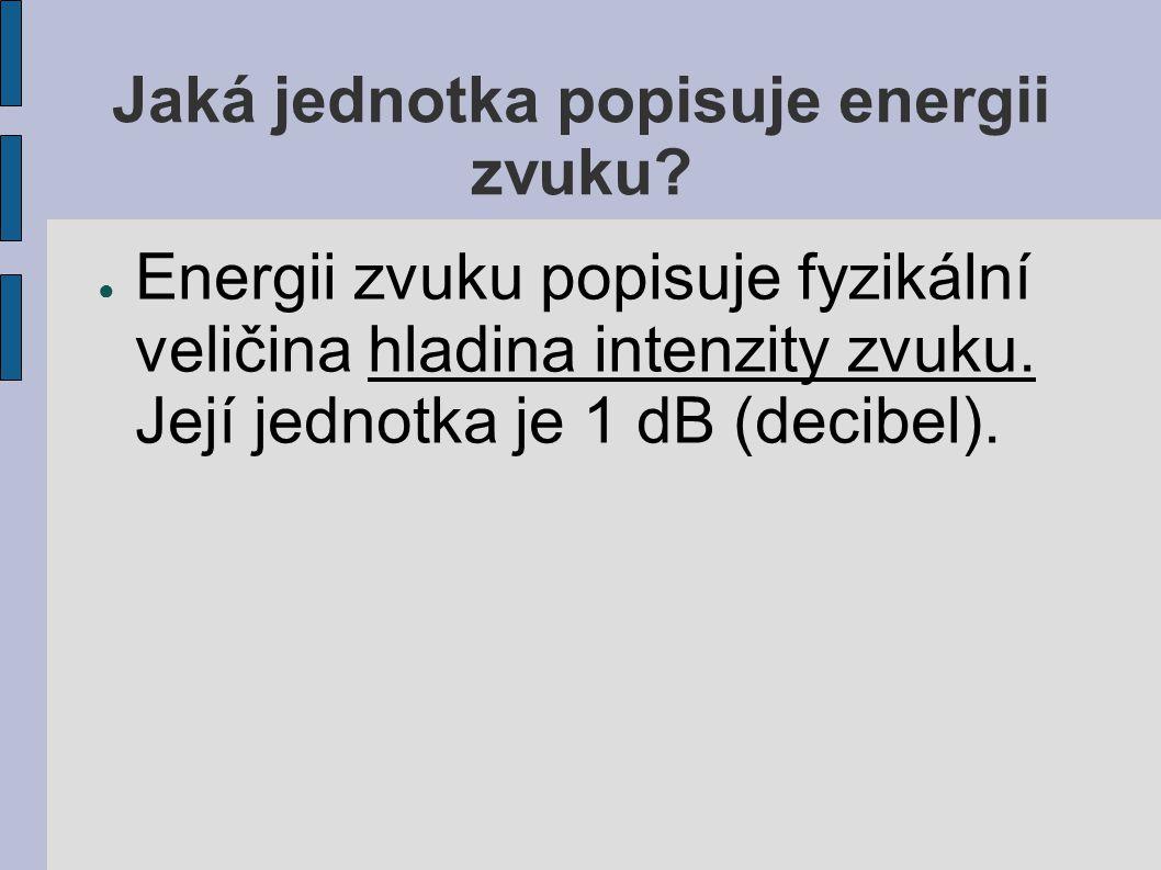 Jaká jednotka popisuje energii zvuku