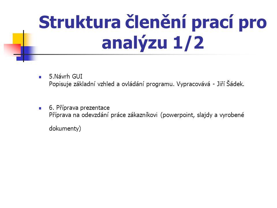 Struktura členění prací pro analýzu 1/2