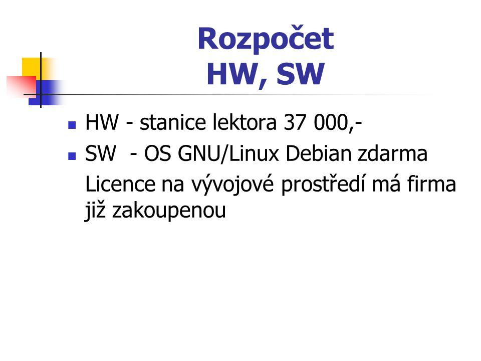 Rozpočet HW, SW HW - stanice lektora 37 000,-