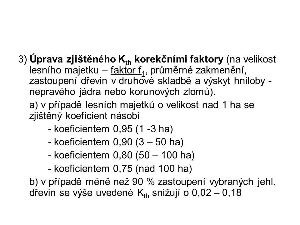 3) Úprava zjištěného Kth korekčními faktory (na velikost lesního majetku – faktor f1, průměrné zakmenění, zastoupení dřevin v druhové skladbě a výskyt hniloby - nepravého jádra nebo korunových zlomů).