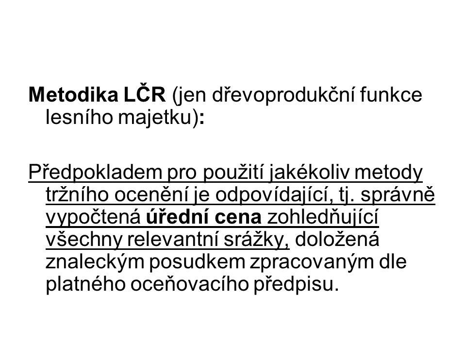 Metodika LČR (jen dřevoprodukční funkce lesního majetku):